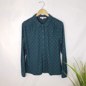 Boden Green Polka-dot Blouse Size 12
